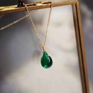 Green drop necklace-emerald-water drop